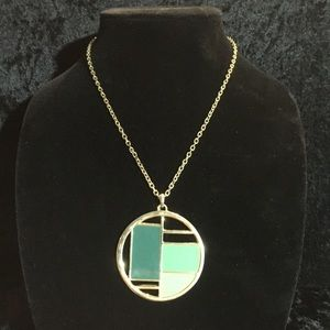 Jewelry - Large green enamel pendant  on gold chain (i015)